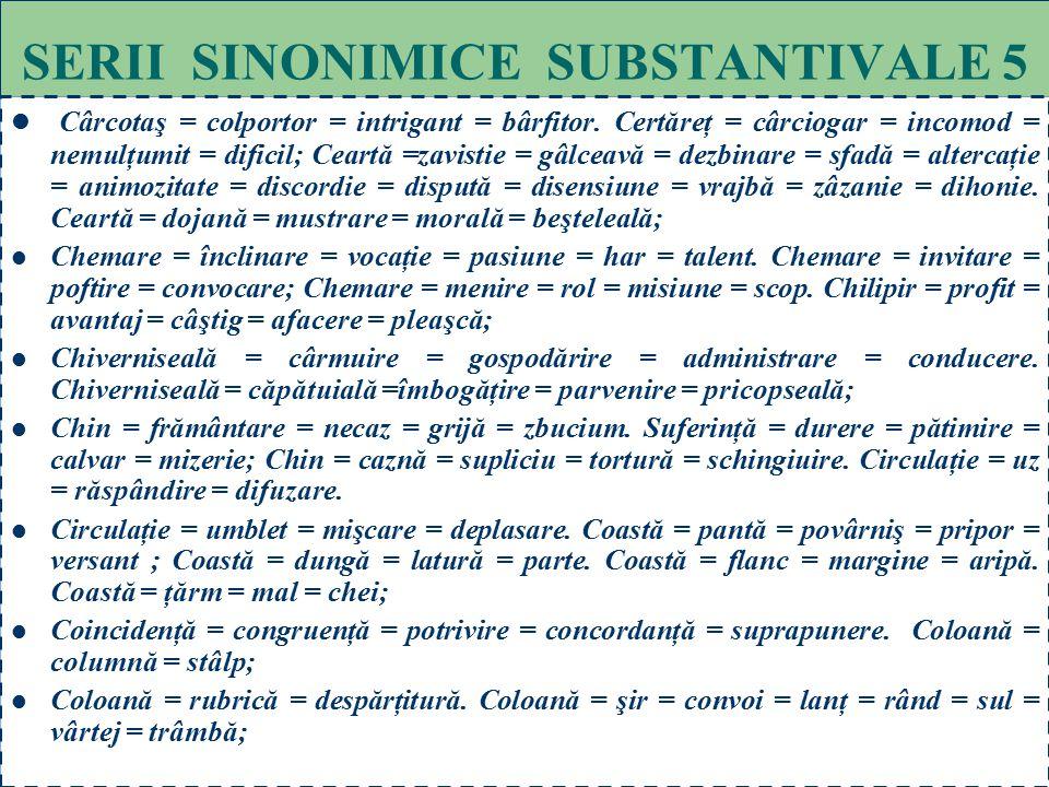 65 SERII SINONIMICE SUBSTANTIVALE 4 Cadru = întindere = spaţiu = teren = domeniu = peisaj = tablou. Cadru = ramă = toc = canat. Cadru = mediu = ambian