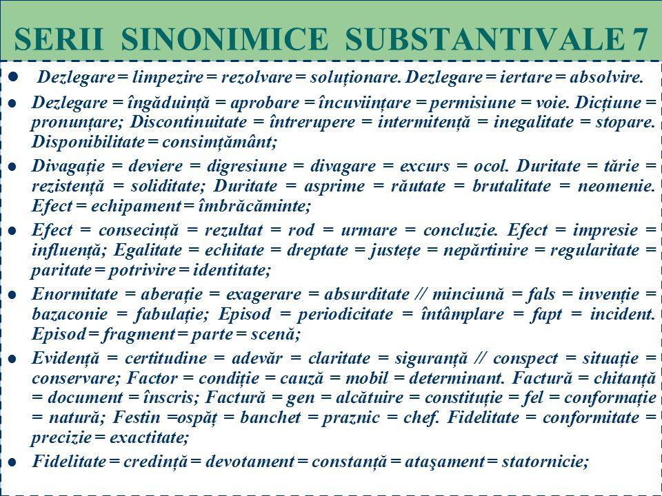 67 SERII SINONIMICE SUBSTANTIVALE 6 Compendiu = breviar = conspect = sinteză = rezumat. Concept = bruion = ciornă = schiţă; Concept = idee = noţiune.