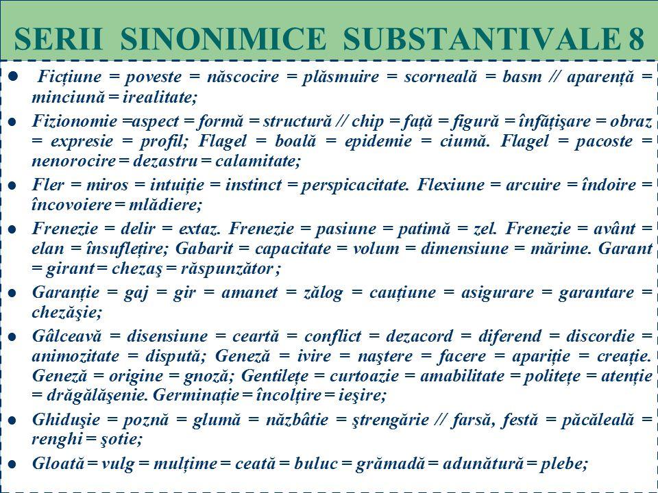 68 SERII SINONIMICE SUBSTANTIVALE 7 Dezlegare = limpezire = rezolvare = soluţionare. Dezlegare = iertare = absolvire. Dezlegare = îngăduinţă = aprobar