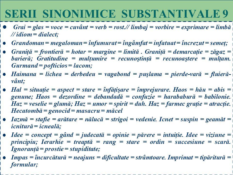 69 SERII SINONIMICE SUBSTANTIVALE 8 Ficţiune = poveste = născocire = plăsmuire = scorneală = basm // aparenţă = minciună = irealitate; Fizionomie =asp