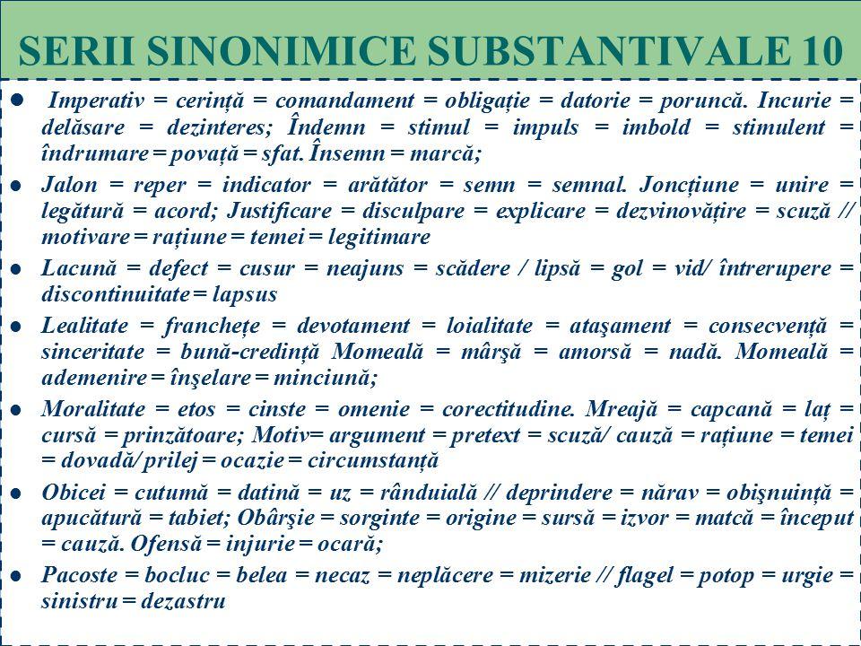 70 SERII SINONIMICE SUBSTANTIVALE 9 Grai = glas = voce = cuvânt = verb = rost.// limbaj = vorbire = exprimare = limbă // idiom = dialect; Grandoman =