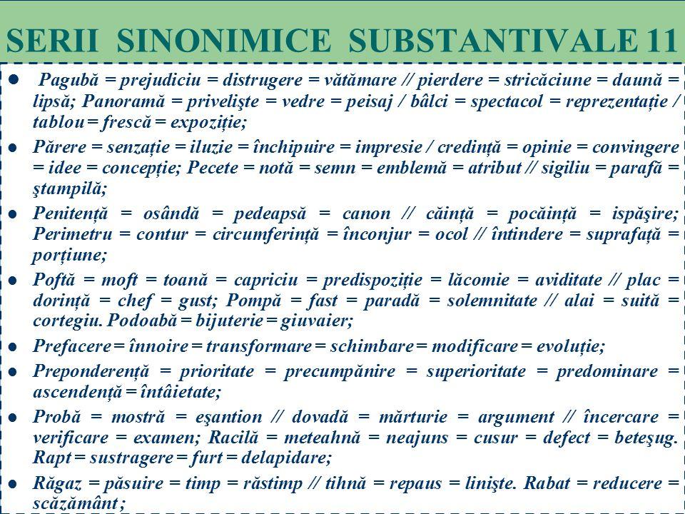 71 SERII SINONIMICE SUBSTANTIVALE 10 Imperativ = cerinţă = comandament = obligaţie = datorie = poruncă. Incurie = delăsare = dezinteres; Îndemn = stim