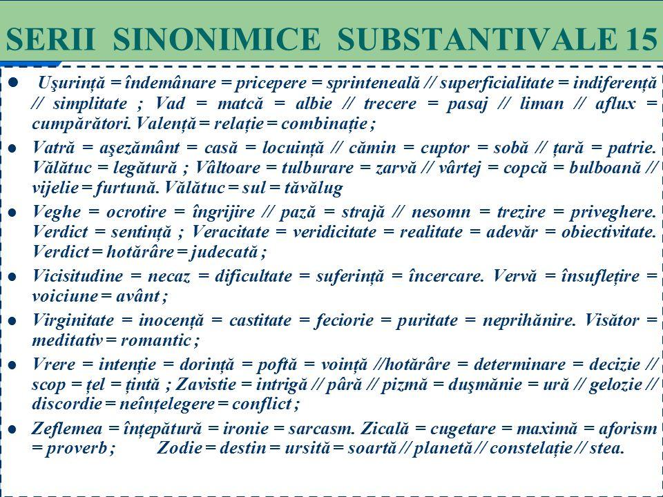75 SERII SINONIMICE SUBSTANTIVALE 14 Şablon = calup = clişeu = tipar = model = calapod = formă = şan. Şaradă = rebus = ghicitoare ; Şiretlic = şireten