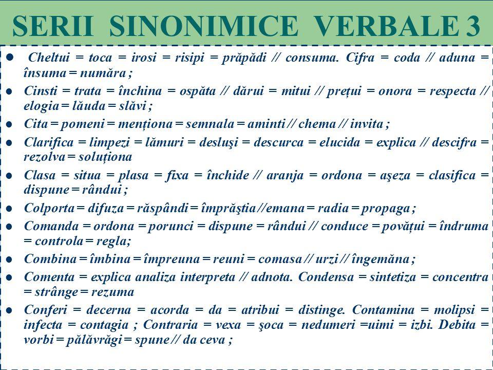 78 SERII SINONIMICE VERBALE 2 Baza = conta = sprijini = rezeme // a se încrede = a se bizui = a se întemeia = a crede; Băga = înfige = împlânta = intr