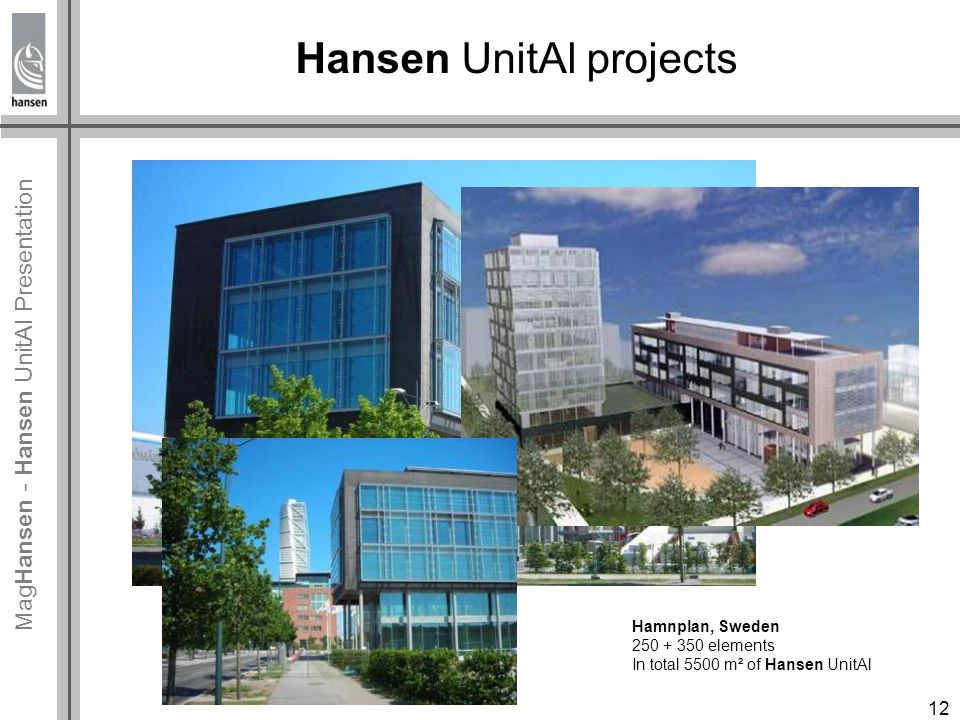 Mag Hansen - Hansen UnitAl Presentation Hansen UnitAl projects Hamnplan, Sweden 250 + 350 elements In total 5500 m² of Hansen UnitAl 12