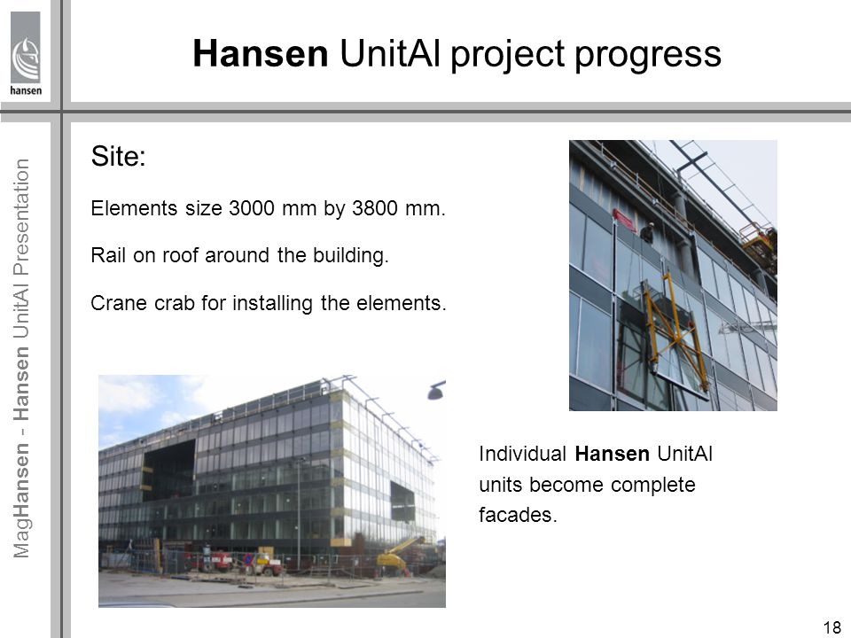 Mag Hansen - Hansen UnitAl Presentation Hansen UnitAl project progress Site: Elements size 3000 mm by 3800 mm.