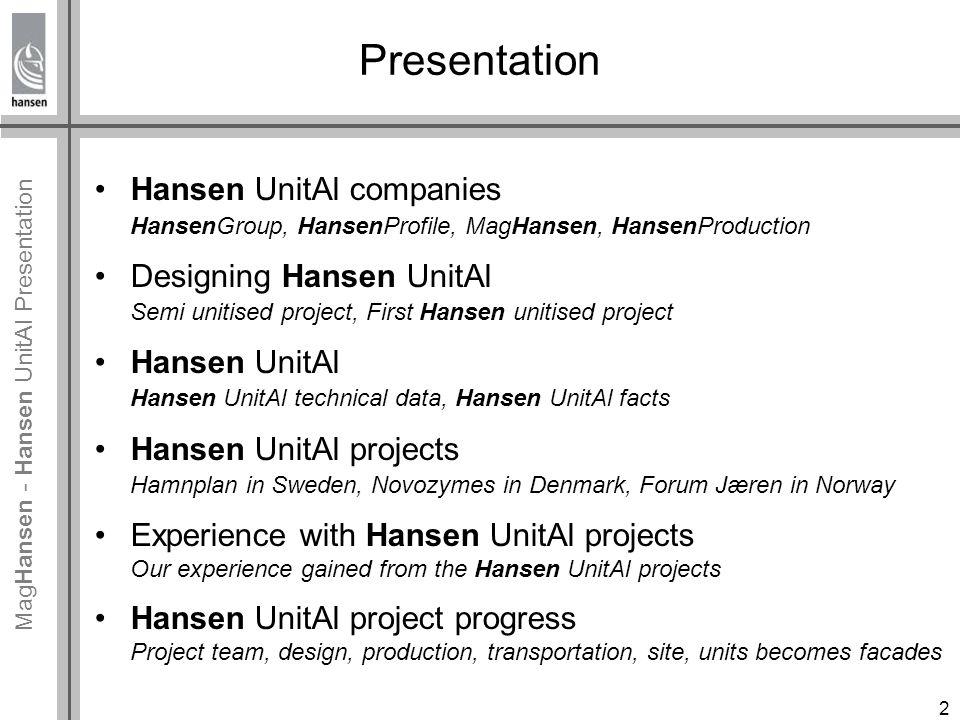 Mag Hansen - Hansen UnitAl Presentation Novozymes, Denmark 216 elements 2500 m² of Hansen UnitAl Hansen UnitAl projects 13