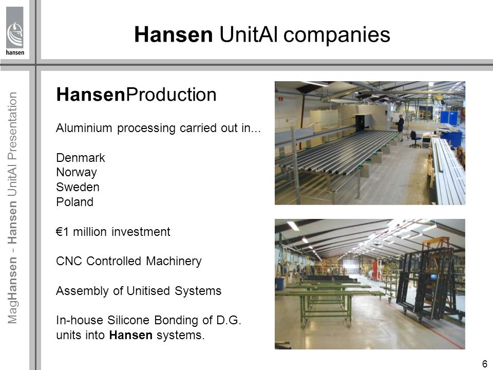 Mag Hansen - Hansen UnitAl Presentation Designing Hansen UnitAl Before we started our first unitised project we had undertaking a number of semi unitised projects.