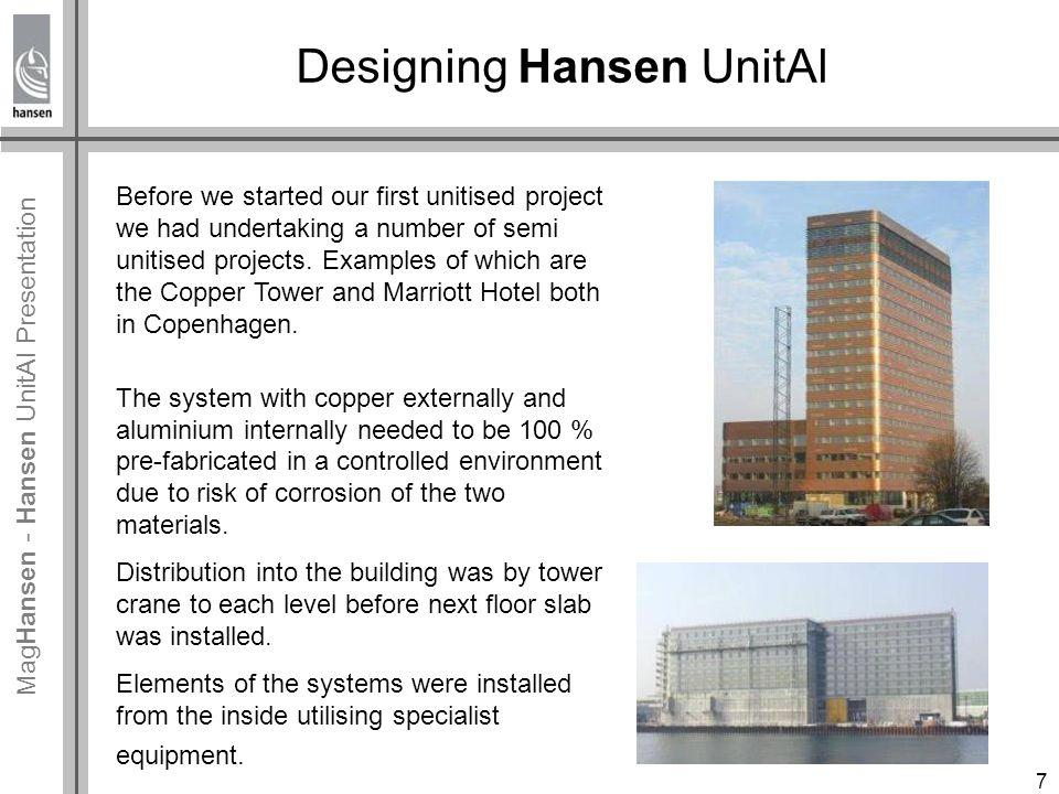 Mag Hansen - Hansen UnitAl Presentation Designing Hansen UnitAl The first project utilising a fully unitised system was the headquarter of Deloitte in Copenhagen.