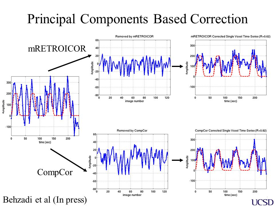 Component Based Noise Correction (CompCor) fMRI signal ++ +++ Stimulus Response Constant DC Term Linear Trend White matter and CSF principal components Gaussian Noise = y = Xh + Sb + P est c + n
