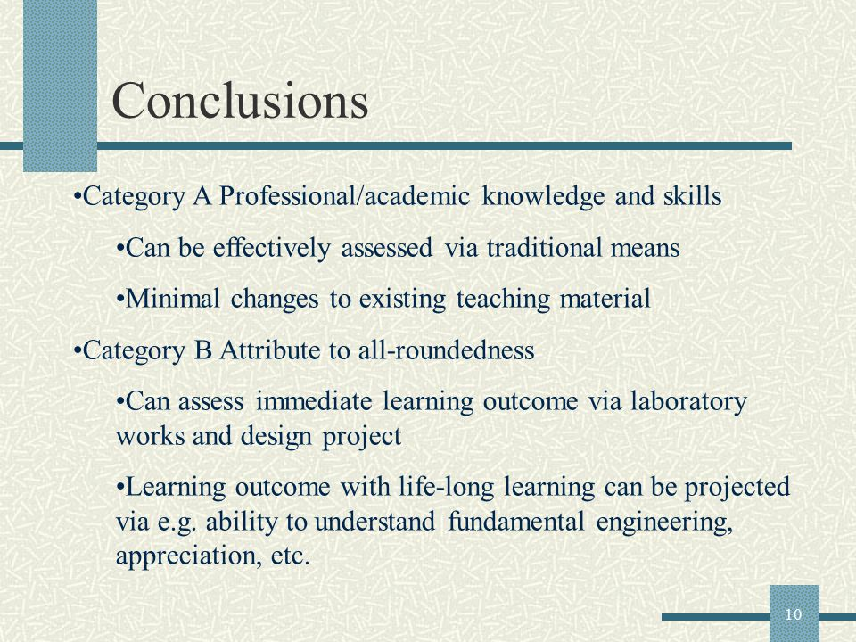 10 Conclusions Category A Professional/academic knowledge and skills Can be effectively assessed via traditional means Minimal changes to existing tea