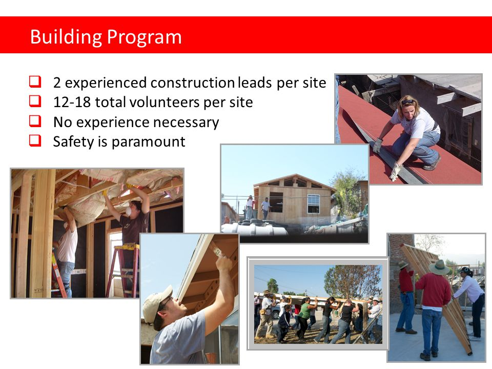 Building Program  2 experienced construction leads per site  12-18 total volunteers per site  No experience necessary  Safety is paramount