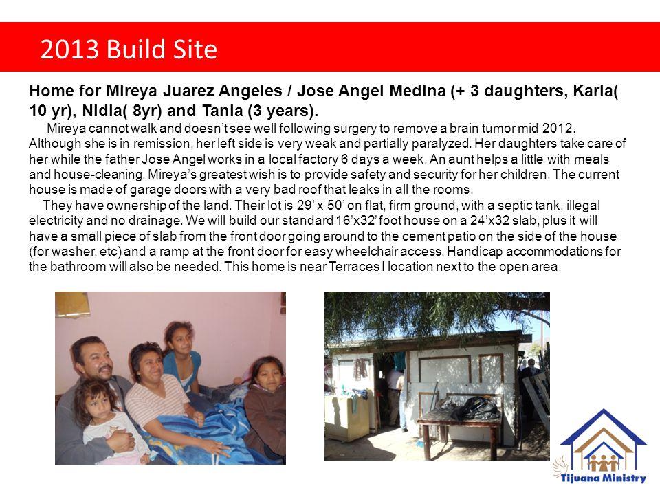 2013 Build Site Home for Mireya Juarez Angeles / Jose Angel Medina (+ 3 daughters, Karla( 10 yr), Nidia( 8yr) and Tania (3 years).