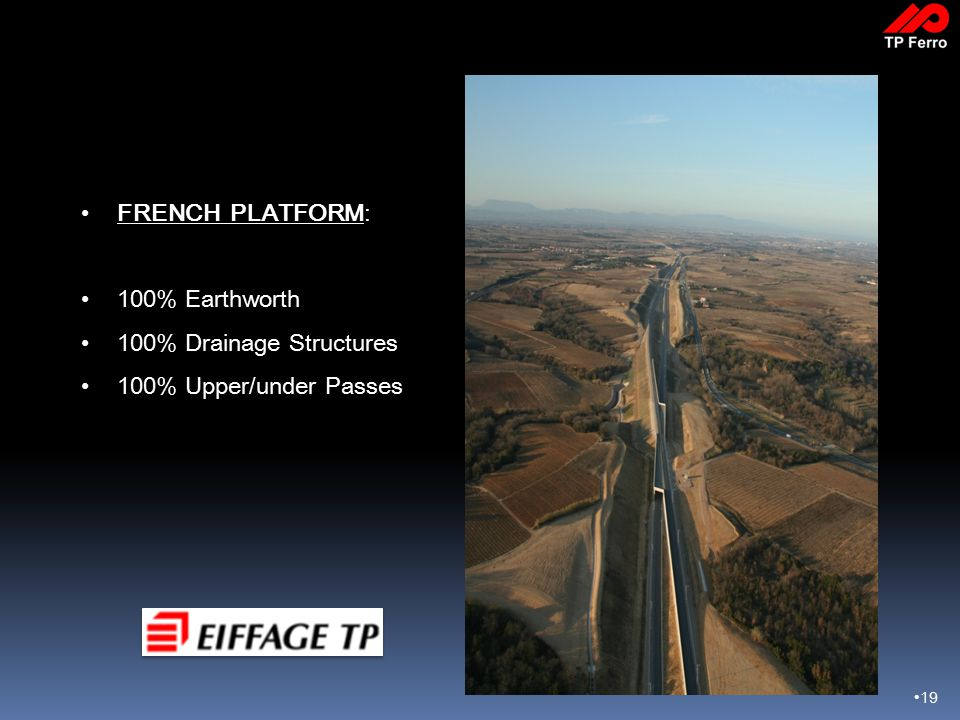 19 FRENCH PLATFORM: 100% Earthworth 100% Drainage Structures 100% Upper/under Passes