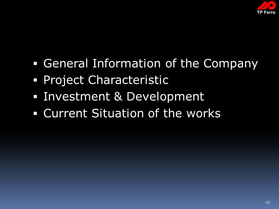 2  General Information of the Company  Project Characteristic  Investment & Development  Current Situation of the works
