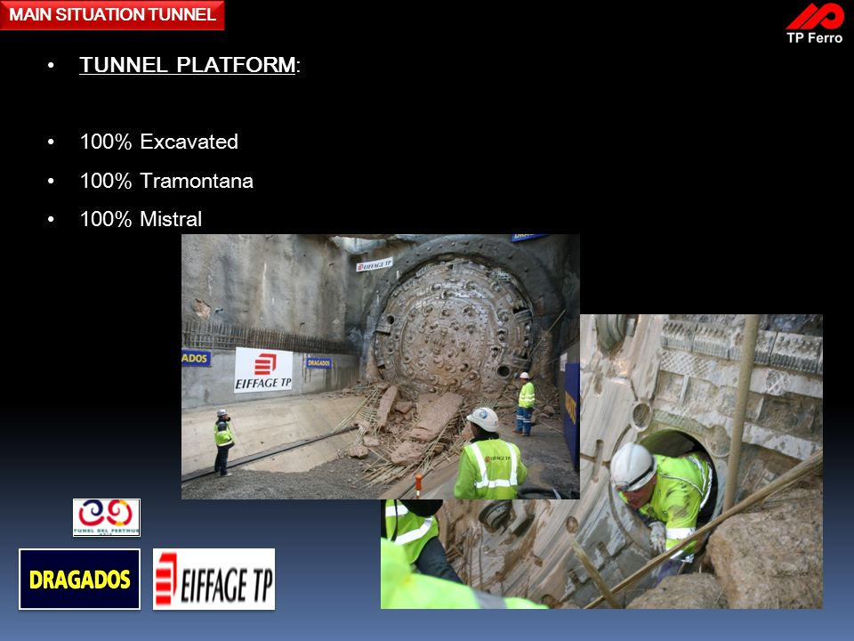 MAIN SITUATION TUNNEL TUNNEL PLATFORM: 100% Excavated 100% Tramontana 100% Mistral