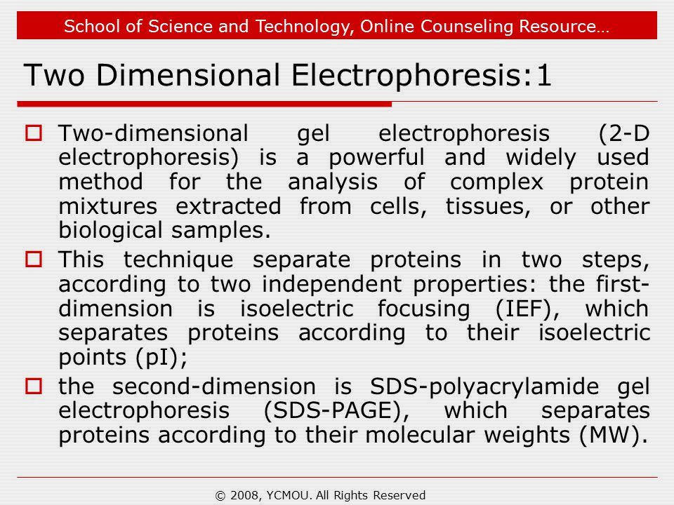 School of Science and Technology, Online Counseling Resource… Two Dimensional Electrophoresis:1  Two-dimensional gel electrophoresis (2-D electrophor