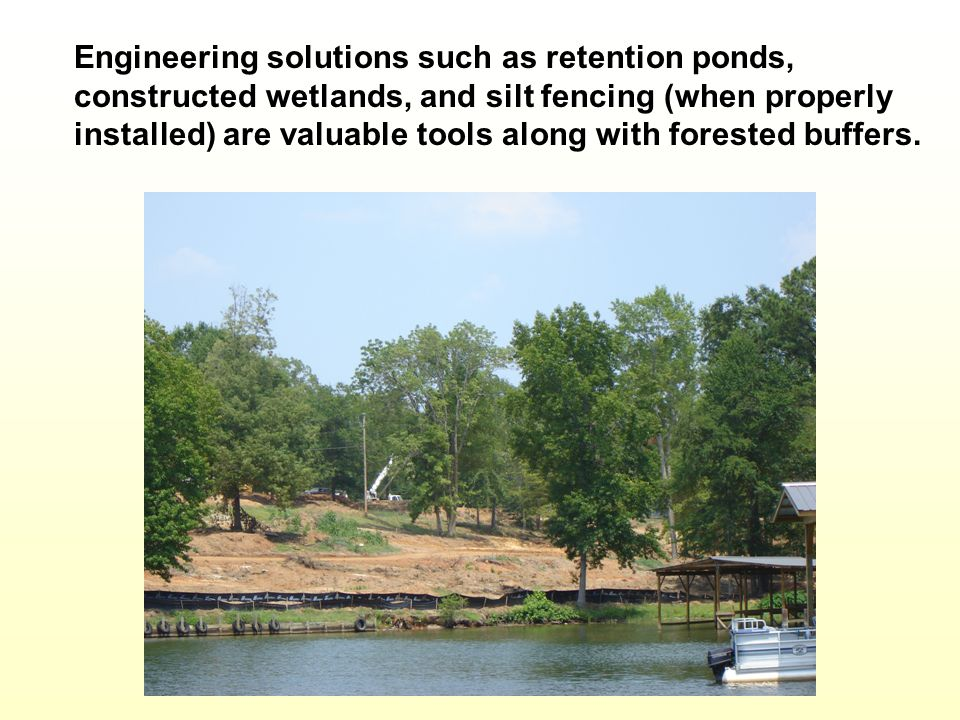 Engineering solutions such as retention ponds, constructed wetlands, and silt fencing (when properly installed) are valuable tools along with forested buffers.