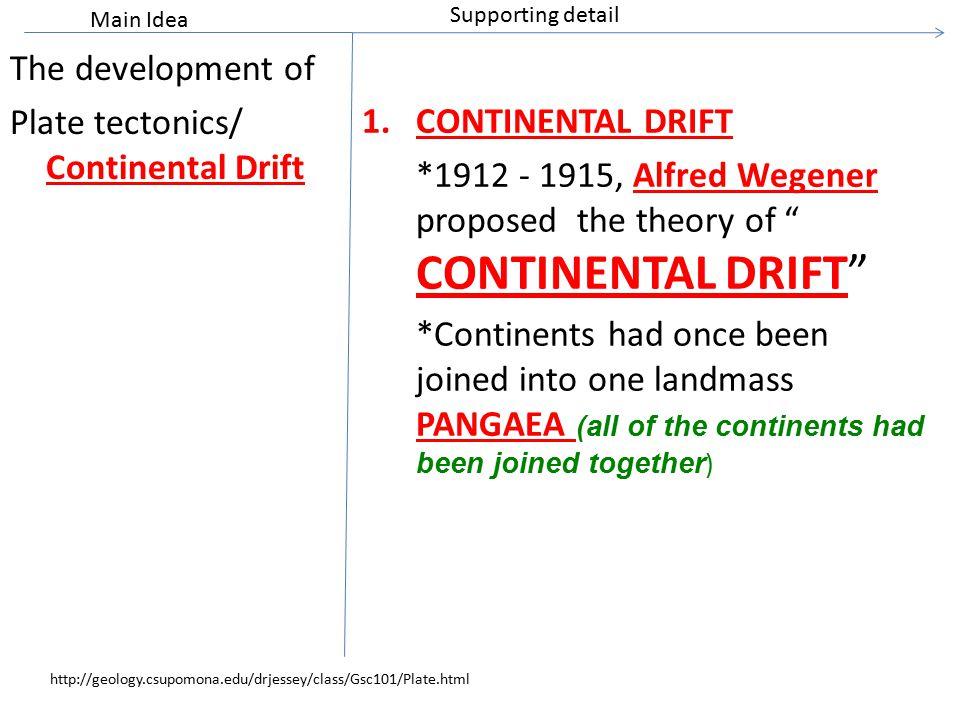 "The development of Plate tectonics/ Continental Drift 1.CONTINENTAL DRIFT *1912 - 1915, Alfred Wegener proposed the theory of "" CONTINENTAL DRIFT"" *Co"