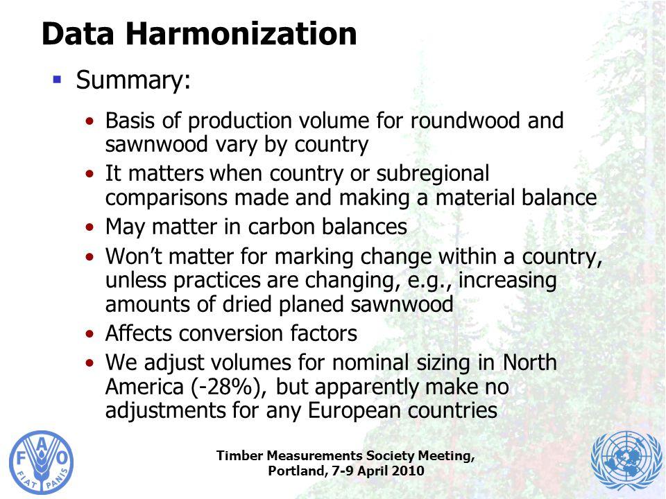 Timber Measurements Society Meeting, Portland, 7-9 April 2010 Data Harmonization  Summary: Basis of production volume for roundwood and sawnwood vary