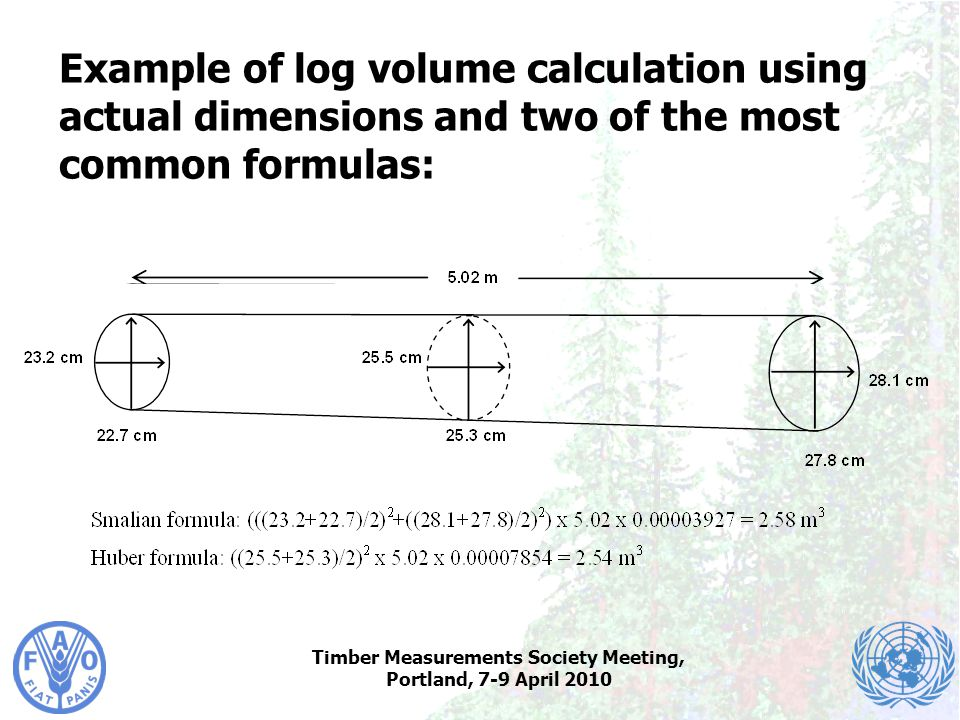 Timber Measurements Society Meeting, Portland, 7-9 April 2010 Example of log volume calculation using actual dimensions and two of the most common for
