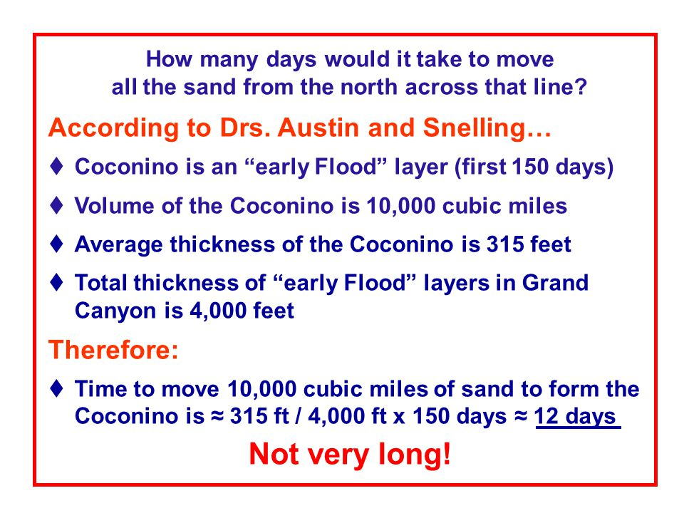 """How many days would it take to move all the sand from the north across that line? According to Drs. Austin and Snelling…  Coconino is an """"early Flood"""