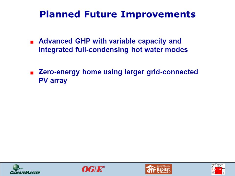 Planned Future Improvements Advanced GHP with variable capacity and integrated full-condensing hot water modes Zero-energy home using larger grid-connected PV array