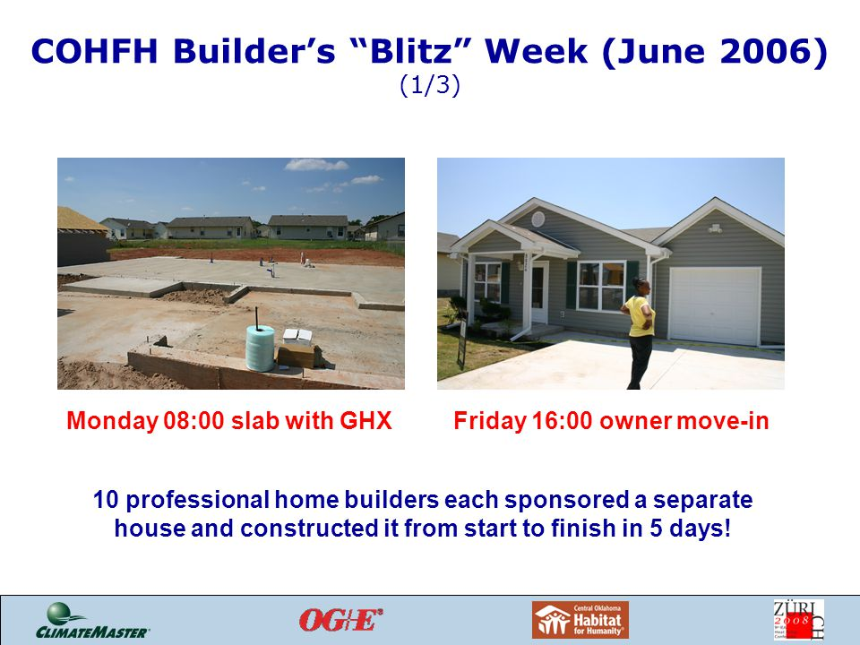 COHFH Builder's Blitz Week (June 2006) (1/3) Monday 08:00 slab with GHXFriday 16:00 owner move-in 10 professional home builders each sponsored a separate house and constructed it from start to finish in 5 days!
