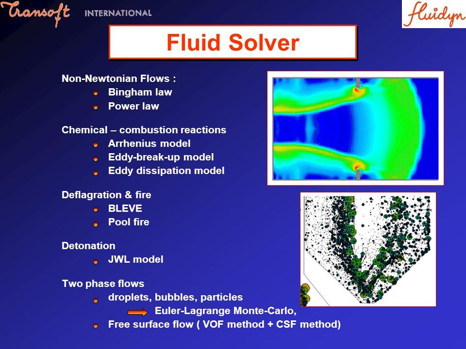 Non-Newtonian Flows : Bingham law Power law Chemical – combustion reactions Arrhenius model Eddy-break-up model Eddy dissipation model Deflagration &
