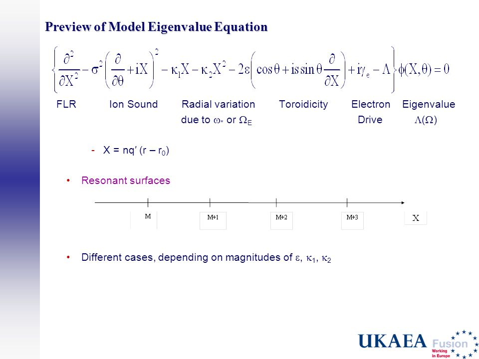 Preview of Model Eigenvalue Equation FLRIon Sound Radial variation Toroidicity Electron Eigenvalue due to  * or  E Drive  (  ) -X = nq′ (r – r 0 ) Resonant surfaces Different cases, depending on magnitudes of ,  1,  2