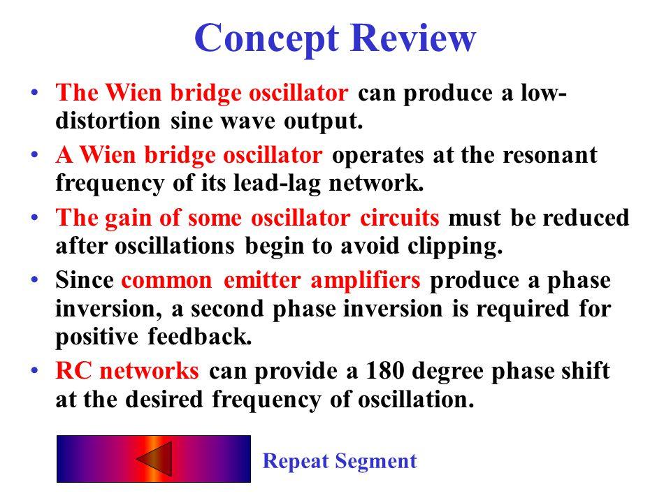 RC Oscillator Quiz A properly designed Wien bridge oscillator provides a __________ waveform. sine The feedback fraction in a Wien bridge oscillator i