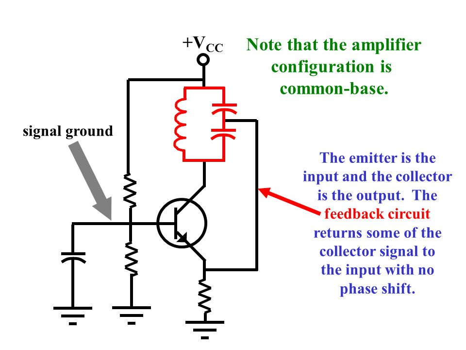+V CC This is called a Colpitts oscillator. The capacitive leg of the tank is tapped. feedback