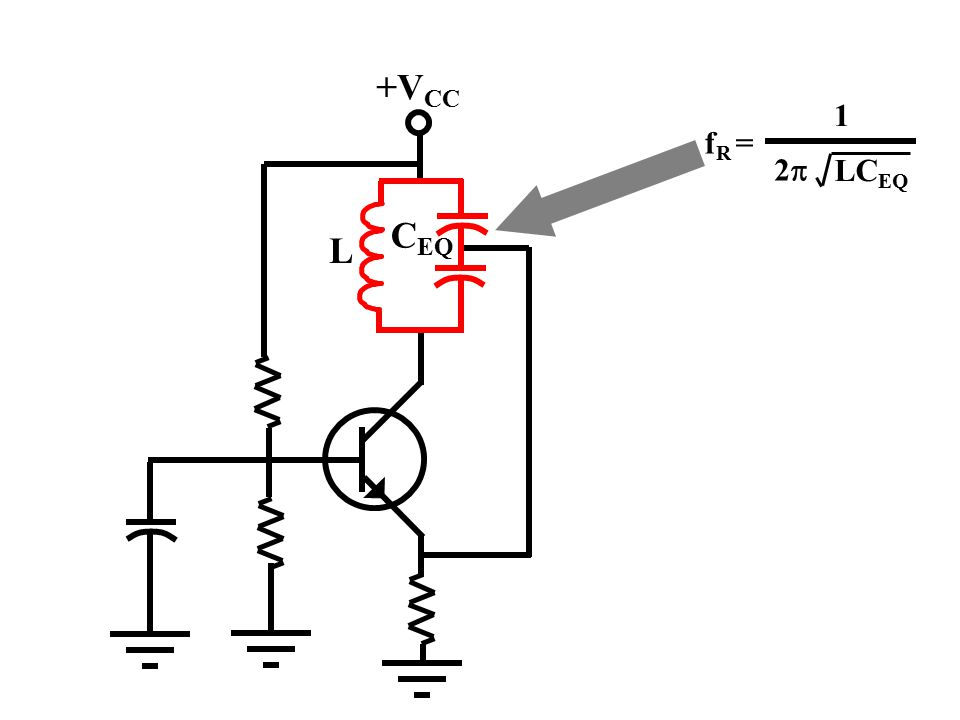 +V CC Note that the amplifier configuration is common-base. The emitter is the input and the collector is the output. The feedback circuit returns som