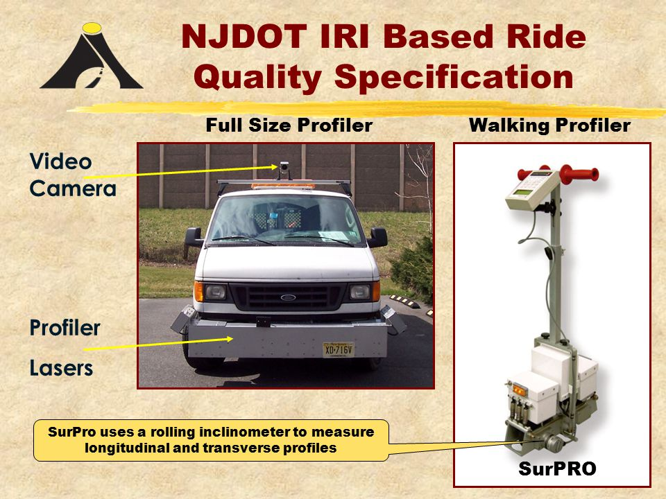 NJDOT IRI Based Ride Quality Specification Profiler Lasers Video Camera Walking ProfilerFull Size Profiler SurPRO SurPro uses a rolling inclinometer to measure longitudinal and transverse profiles