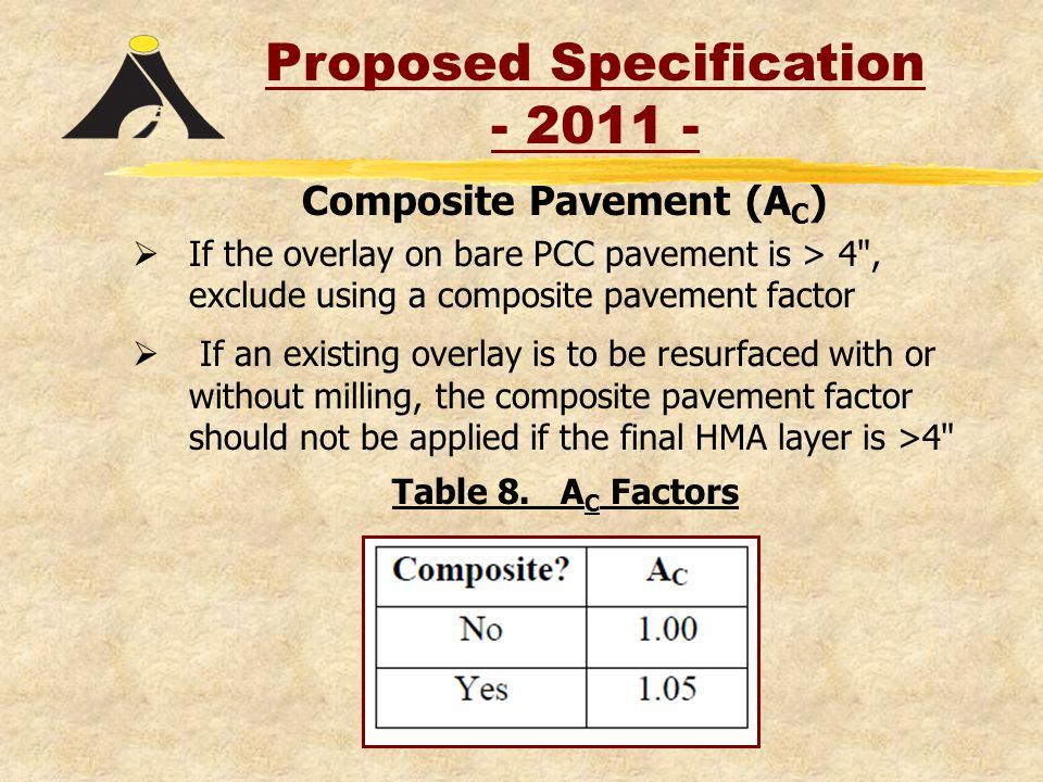 Composite Pavement (A C )  If the overlay on bare PCC pavement is > 4 , exclude using a composite pavement factor  If an existing overlay is to be resurfaced with or without milling, the composite pavement factor should not be applied if the final HMA layer is >4 Table 8.