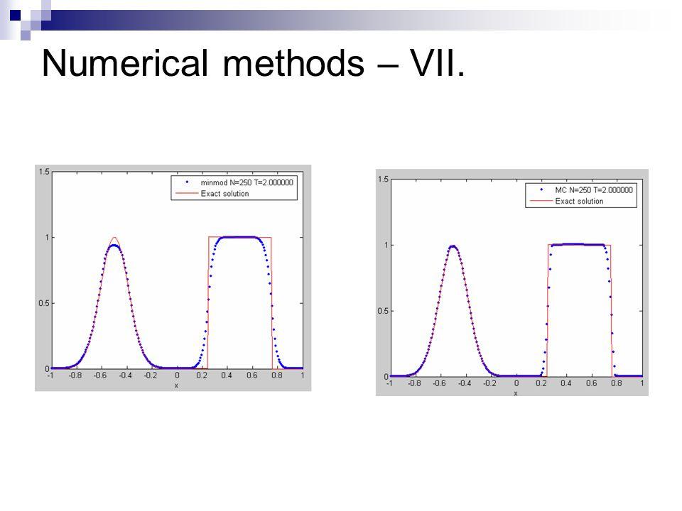 Numerical methods – VII.