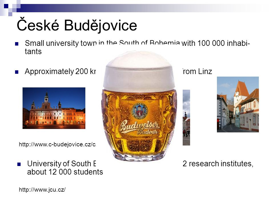 České Budějovice http://www.c-budejovice.cz/cz Small university town in the South of Bohemia with 100 000 inhabi- tants Approximately 200 km from Wien