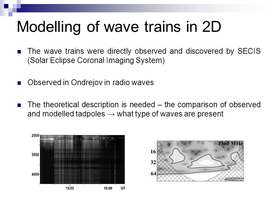Modelling of wave trains in 2D The wave trains were directly observed and discovered by SECIS (Solar Eclipse Coronal Imaging System) Observed in Ondre