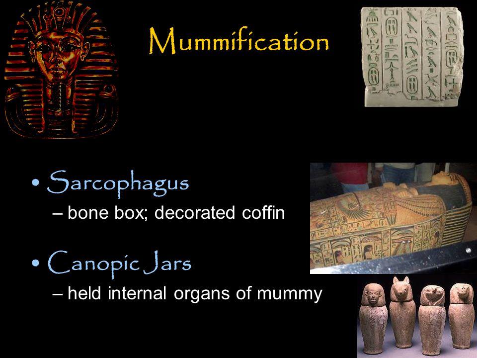 Gods and Goddesses Re (Rah or Amen-Re) –sun god Anubis –god of the dead and mummification; jackal headed