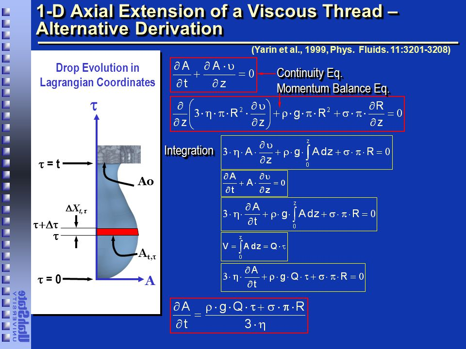 1-D Axial Extension of a Viscous Thread – Alternative Derivation  A  = 0  = t Ao Drop Evolution in Lagrangian Coordinates  X t,  A t,   (Yarin et al., 1999, Phys.