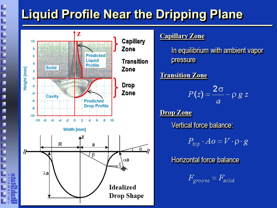 Liquid Profile Near the Dripping Plane Capillary Zone Transition Zone Drop Zone z Capillary Zone Transition Zone In equilibrium with ambient vapor pressure Drop Zone Idealized Drop Shape Vertical force balance: Horizontal force balance