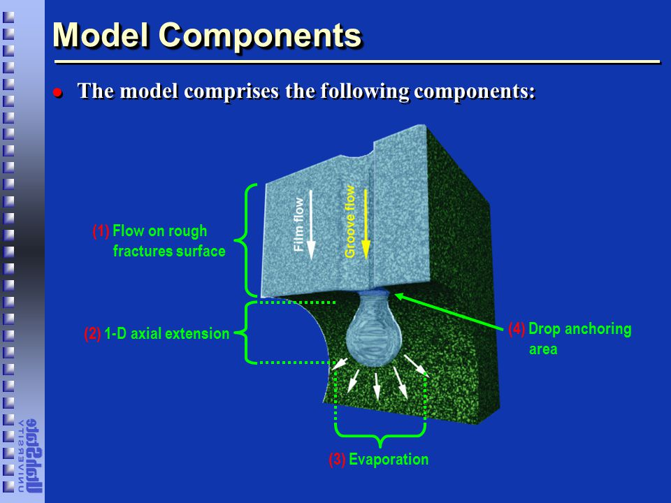 Model Components l The model comprises the following components: (1) Flow on rough fractures surface (2) 1-D axial extension (3) Evaporation (4) Drop anchoring area