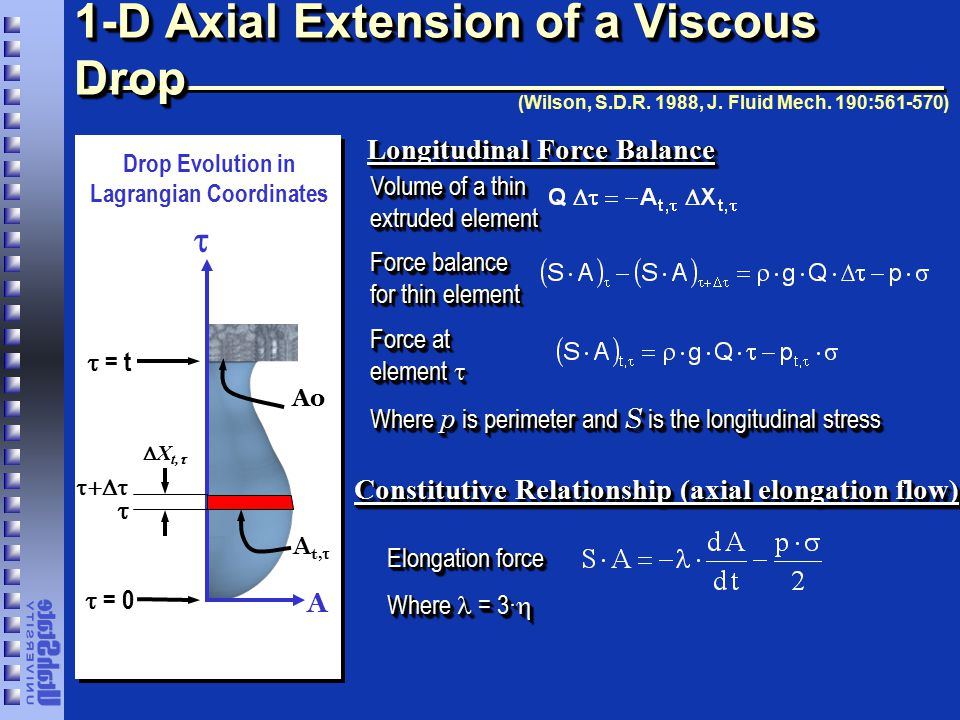 Boundary Conditions Emerging liquid element: Ao Rupturing liquid element: Experimental observations suggest that drop anchoring area (at  = t) is relatively constant.