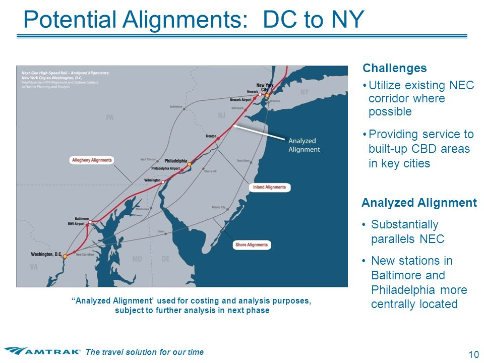 The travel solution for our time 10 Challenges Utilize existing NEC corridor where possible Providing service to built-up CBD areas in key cities Analyzed Alignment Substantially parallels NEC New stations in Baltimore and Philadelphia more centrally located Analyzed Alignment' used for costing and analysis purposes, subject to further analysis in next phase Potential Alignments: DC to NY