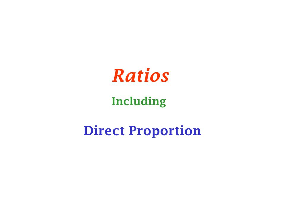Ratios Direct Proportion Including
