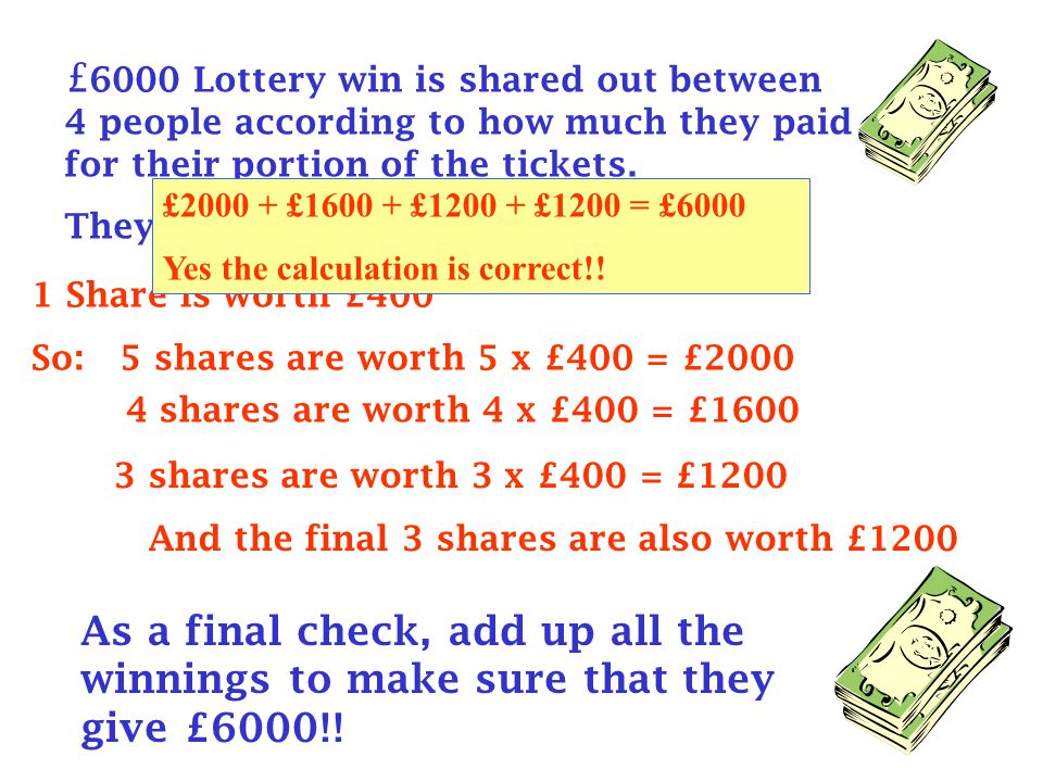£ 6000 Lottery win is shared out between 4 people according to how much they paid for their portion of the tickets.