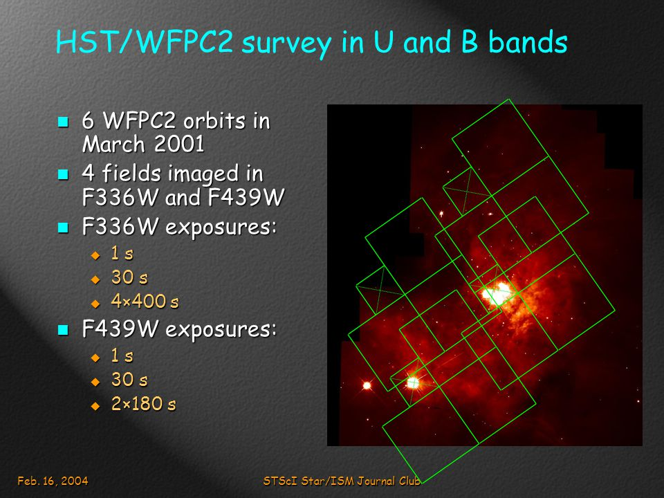 Feb. 16, 2004STScI Star/ISM Journal Club HST/WFPC2 survey in U and B bands 6 WFPC2 orbits in March 2001 6 WFPC2 orbits in March 2001 4 fields imaged i