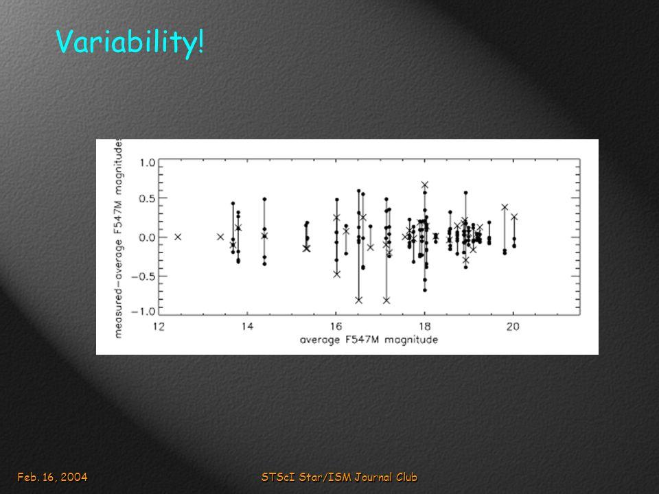 Feb. 16, 2004STScI Star/ISM Journal Club Variability!