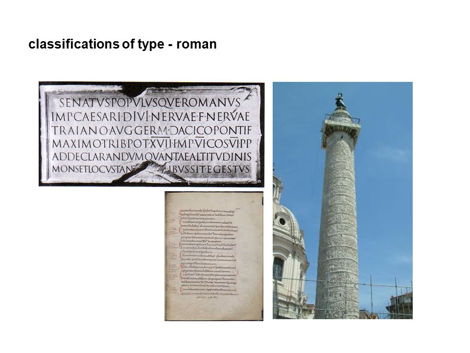 classifications of type - roman