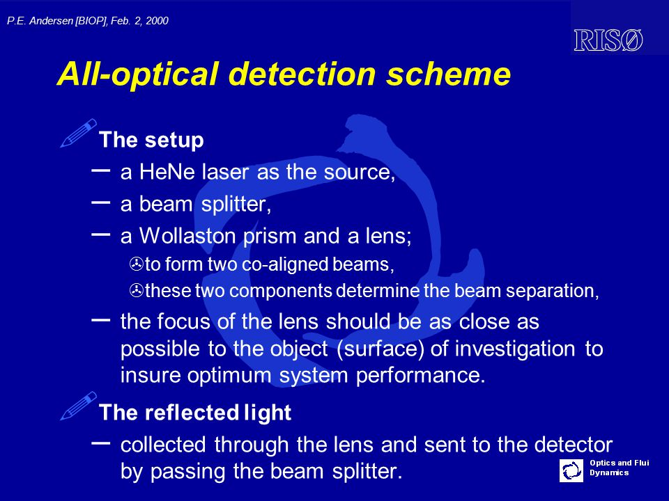 P.E. Andersen [BIOP], Feb. 2, 2000 All-optical detection scheme ! The setup – a HeNe laser as the source, – a beam splitter, – a Wollaston prism and a